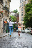Just married couple jumping — Stock fotografie