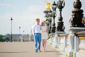 Just married couple on  Alexandre III bridge — Stock Photo