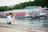 Just married couple on Seine embankment — 图库照片