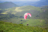 Paragliding in Volcano natural park, France — Stock Photo