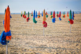 The famous colorful parasols on Deauville Beach — Stock Photo