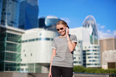 Young business woman speaking on the phone — Stock Photo