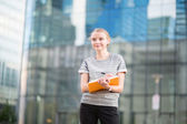 Young business woman planning her day — Stock Photo