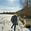 Foto Stock: Apiarist in winter season.