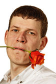 Man with flower. — Stock Photo