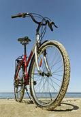海でのバイク. — ストック写真