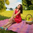 Beautiful girl in a pink dress on a picnic — Stock Photo