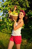 Beautiful girl on a picnic — Stock Photo