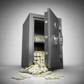 Bank safe with money — ストック写真