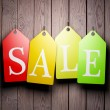 Colorful sale tags hanging — Stock Photo