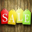 Colorful sale tags hanging — Stock Photo #19364069