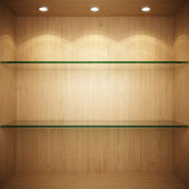 Empty wooden showcase with glass shelves — ストック写真