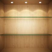 Pusta prezentacja drewniane ze szklanymi półkami — Zdjęcie stockowe
