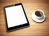 Black tablet computer — Stock Photo