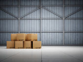 Large trucking warehouse — Stok fotoğraf