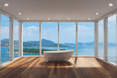 Modern bathroom with large bay window — ストック写真