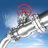 Pipeline with red valve — Stok fotoğraf