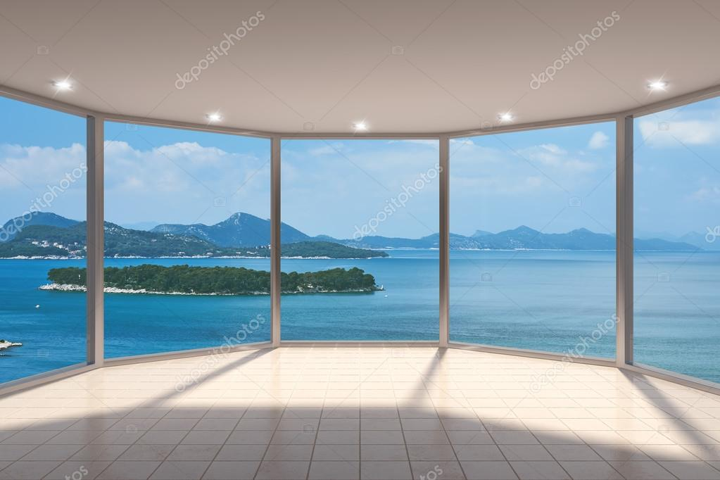 espace vide salon moderne avec grande baie vitr e photographie shenki 44262895. Black Bedroom Furniture Sets. Home Design Ideas