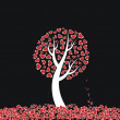 Red heart tree on black background — Stock Vector #1169081