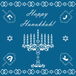 Chanukah holiday background with dreidels and khanukiyah, vector - Stockvectorbeeld