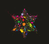 Grunge stylized colorful David Star - holiday background — Stok Vektör