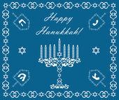 Chanukah holiday background with dreidels and khanukiyah, vector — Stock Vector