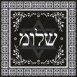 Classic Shalom hebrew design - jewish greeting background — Stock Vector #14285651