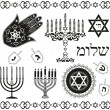 Stock Vector: Set of jewish religious holiday vector symbols