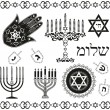 Set of jewish religious holiday vector symbols - Stock Vector