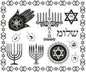 Set Joodse religieuze feestdag vector symbolen — Stockvector