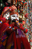 Colorful handmade traditional puppets for sale,Rajasthan — Stock Photo