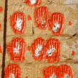 Hand prints of women who committed sati in Meherangarh Fort in Jodhpur, Rajasthan, India — Stock Photo #19152251