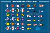 Señal marítima internacional banderas - mar alfabeto, vector illu — Vector de stock