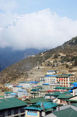 Namche Bazaar village view - capital of sherpa ,Everest region,Nepal — Stock Photo
