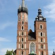 St. Mary's Basilica or Mariacki Church - famous gothic church,Krakow,Poland — Стоковая фотография
