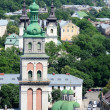 Dormition or Assumption Church with old Korniakt Tower,Lviv,Ukraine — Stock Photo