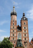 St. Mary's Basilica or Mariacki Church - famous gothic church,Krakow,Poland — Stock Photo