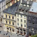 Lviv market square with famous landmark - Black House ,Lemberg,Ukraine — Stock Photo