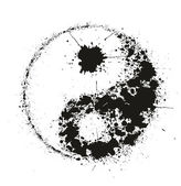 Grunge Yin Yan symbol made of black ink splashes on white backgr — Stock Vector