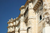 Walls of medieval city palace, in Udaipur,Rajasthan,India — Stock Photo