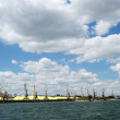 Stock Photo: Cargo port with cranes and sulphur firestone near Odessa,Ukraine