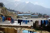 Lniane liny z ubrania na lotnisko lukla lukla, nepal — Zdjęcie stockowe