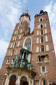 Mariacki Church - famous gothic church in Krakow,Poland — Stock Photo