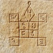 Ancient hindu astrology symbols on the wall,Jaisalmer,India — Photo