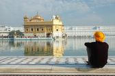 Old Sikh meditating inside famous religious landmark of Punjab - Golden Temple, main holy place of sikh religion — Stock Photo