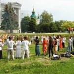 Ukrainian pagan people are praying to Perun,god of Thunder in Slavic mythology,Kiev — Stock Photo