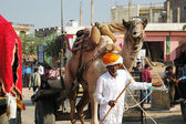 Old tribal nomad cameleer going to camel decoration competition at cattle fair in hindu holy town Pushkar,India — Foto Stock