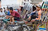 Bicycle rickshaw driver resting at Durbar square,Kathmandu,Nepal — Stock Photo