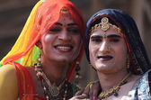 "Hijras - holy people,so called ""third gender"" dressed as woman at Pushkar camel fair,India — Stock Photo"