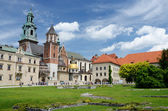 Tourists visiting Wawel Royal Castle and Cathedral in Krakow, Poland — Stock Photo